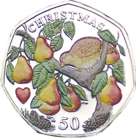 2005 Isle Of Man Christmas 50p - Partridge In a Pear Tree